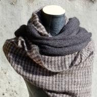 Etole tissée (mohair, soie et laine mérinos) et écharpe noire (maille de mohair et soie)