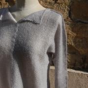 pull fendu gris/gris clair